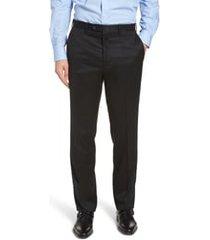 men's big & tall john w. nordstrom torino classic fit flat front solid dress pants, size 48 x unhemmed - black