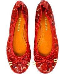 baleta en cuero rojo animal print versilia yury