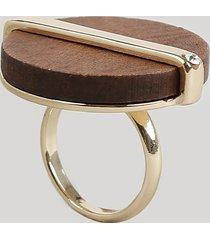 anel feminino redondo com madeira dourado