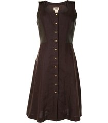 hermès square neck sleeveless dress - brown