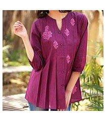 beaded cotton blouse, 'magenta blush' (india)