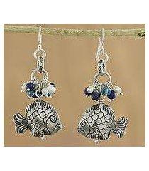 pearl and lapis dangle earrings, 'marine fantasy' (thailand)