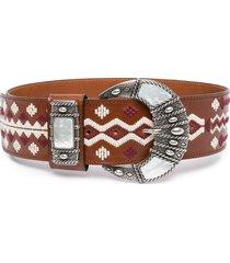 etro stitch-embellished waist belt - brown