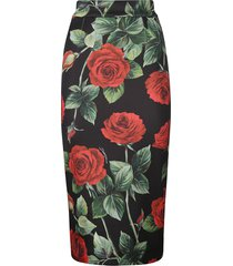 dolce & gabbana rose printed skirt