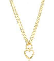 colar coração corrente dupla maxi elos folheado a ouro 18k - kanui