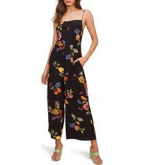 women's astr the label frenzy floral wide leg jumpsuit