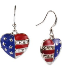 holiday lane silver-tone pave red, white & blue heart drop earrings, created for macy's