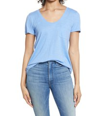 women's caslon rounded v-neck t-shirt, size xx-small - blue