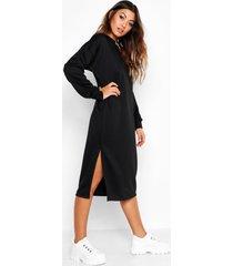 midi sweatshirt jurk met split, zwart