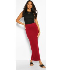 basic jersey maxi-rok met contrasterende taille, berry