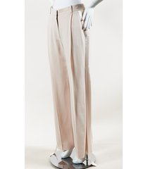 """skin"" pink stretch cady streamer trim high waist tux pants"