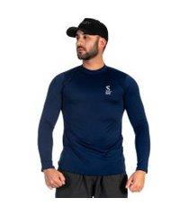 camiseta masculina microfibra respirável conforto casual azul