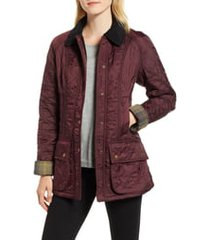 barbour beadnell fleece lined quilted jacket, size 12 us in aubergine /black at nordstrom