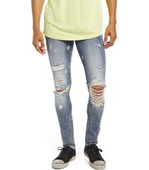 cult of individuality punk super skinny ripped stretch jeans, size 31 in studd/crystal at nordstrom