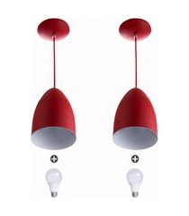 kit 2 lustre pendente cone de alumínio 20x14cm vermelho + la