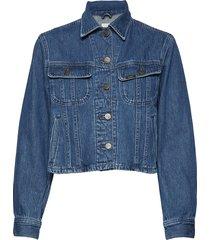 cropped rider jacket jeansjacka denimjacka blå lee jeans