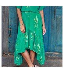 rayon batik skirt, 'balinese breeze in turquoise' (indonesia)