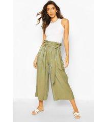 paperbag waist wide leg culottes, khaki