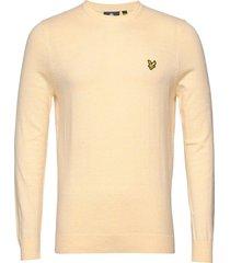 cotton merino crew jumper stickad tröja m. rund krage gul lyle & scott