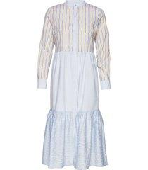 long wide dress w. china collar knälång klänning blå coster copenhagen
