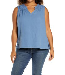 caslon(r) gathered a-line tank, size 2x in blue moonlight at nordstrom