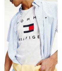 camiseta de algodón orgánico con logo estampado blanco tommy hilfiger