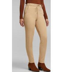 pantalón elástico con cintura elástica beige esprit