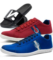 kit 2 pares de sapatãªnis casual dhl masculino vermelho e azul + chinelo slide - azul/azul marinho/bordã´/branco/preto/ruivo/vermelho/vinho - masculin