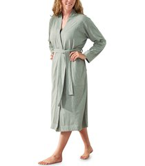 coyuchi solstice organic cotton jersey relaxed robe, size large - grey