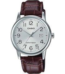 reloj analógico hombre casio mtp-v002l7b2 - marrón con plateado