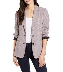 women's chelsea28 plaid blazer, size medium - pink