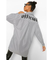 official oversized gestreept overhemd, black