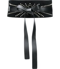 pinko crystal-embellished leather wrap belt - black