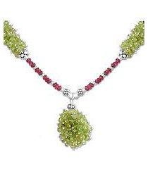 garnet and peridot cluster necklace, 'lemon berries' (india)