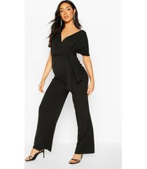 maternity off the shoulder wrap jumpsuit, black