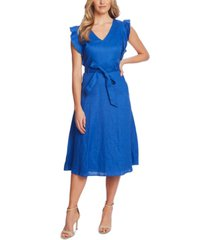 cece belted flutter-sleeve midi dress