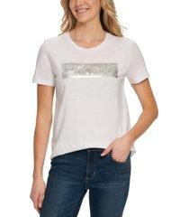 dkny metallica box-logo crewneck t-shirt