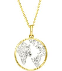 macy's diamond accent gold-plated map pendant necklace