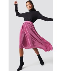 na-kd party pleated asymmetric midi skirt - pink,purple
