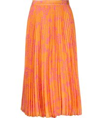 tanya taylor jeana pleated midi skirt - orange