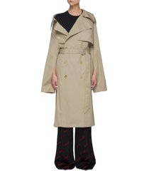 asymmetric shoulder double-breasted trench coat