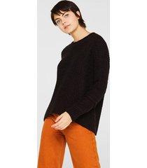 sweater textura con lana negro esprit