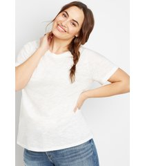 maurices plus size womens 24/7 boyfriend crew neck tee white