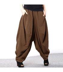 zanzea 2018 manera de las mujeres del resorte elástico sólido de alta cintura gota-entrepierna pantalones retro linterna pantalón holgado largo harem café -marrón