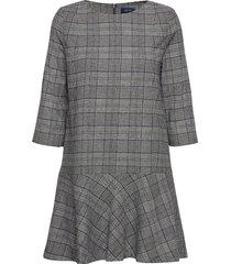 d1. checked flare dress kort klänning grå gant
