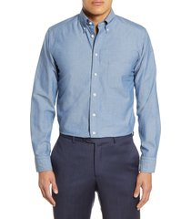 men's eton soft casual line slim fit chambray dot casual shirt, size 14.5 - blue