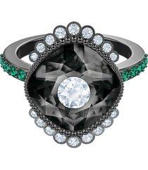 anillo con motivo black baroque, multicolor, baño de rutenio