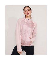 jaqueta esportiva ace com bolsos de zíper manga canelada gola alta rosa claro