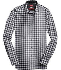 awearness kenneth cole awear-tech charcoal & black check sport shirt