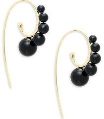 18k yellow gold & onyx threader earrings